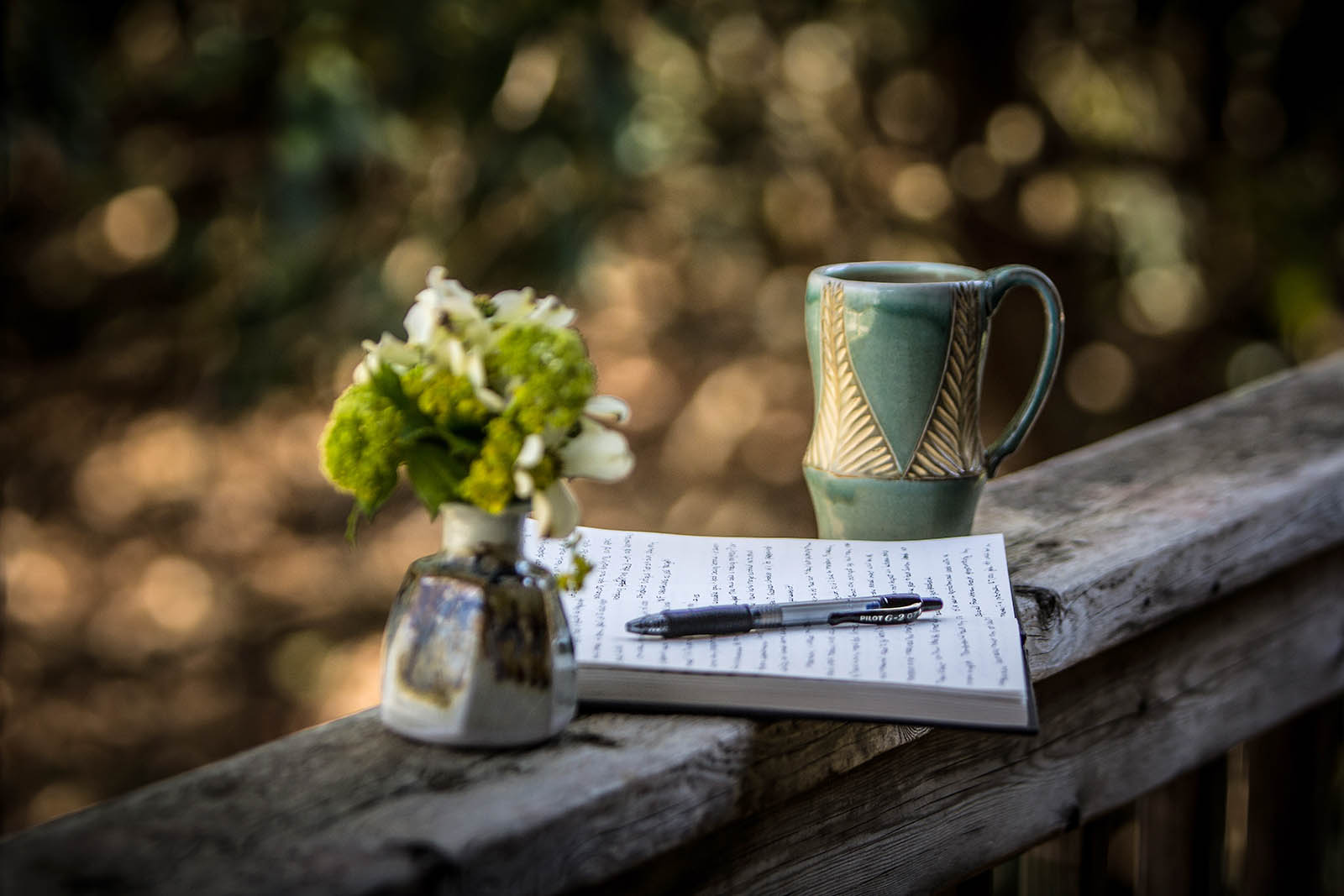 writing coffee and nature