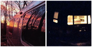 Sunrise and deep twilight in my 1970 Airstream Sovereign