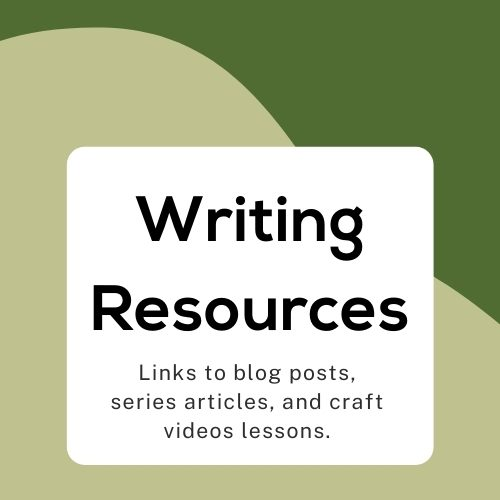 graphic background with text writing resources and links to blog posts